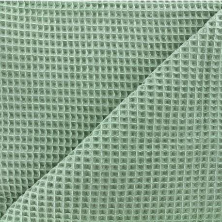 Tissu éponge nid d'abeille recto-verso - vert sauge x 10cm