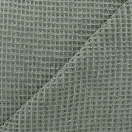 Tissu éponge nid d'abeille recto-verso - vert-de-gris x 10cm