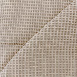 Tissu éponge nid d'abeille recto-verso - sable x 10cm