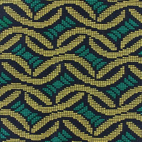 Tissu jacquard tissé Babacar - emeraude x 10cm