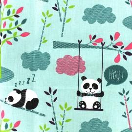 Cretonne cotton Fabric Pandipanda - turquoise x 31cm