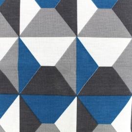 Tissu toile de coton Bachette Geometrik - canard x 18cm