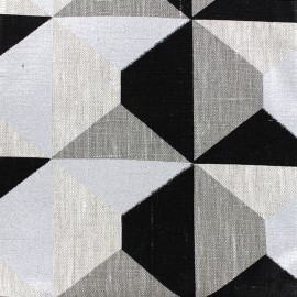 ♥ Coupon 250 cm X 150 cm ♥  Linen canvas fabric Bachette Geometrik - black/silver