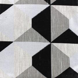 ♥ Coupon 250 cm X 150 cm ♥  Tissu toile de lin Bachette Geometrik - noir/argent