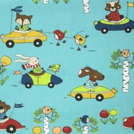 Tissu coton crétonne Promenade - bleu x 31cm