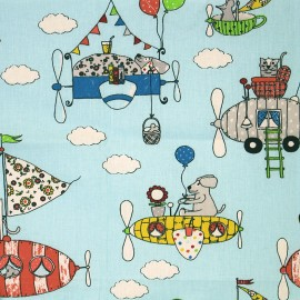 Cretonne cotton Fabric Gulliver - blue x 31cm