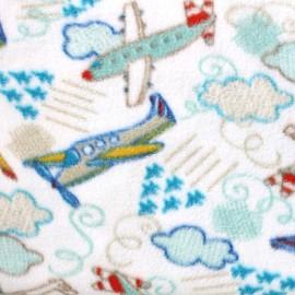 Tissu Polaire Planes blanc x 10cm