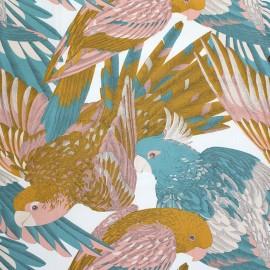 Tissu toile de coton L'amazone - ocre/rose boudoir/turquoise x 65cm
