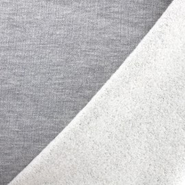 Tissu jogging Molletonné Pailleté - gris perle x 10cm
