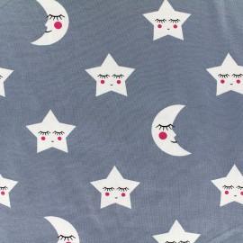 Tissu Jersey Décrocher la lune - gris bleu x 19cm