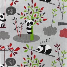 Tissu coton crétonne Pandipanda - gris x 31cm
