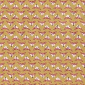 "Fabric Dear Stella ""Wee gallery"" - Fox heads - Moutarde x 10cm"