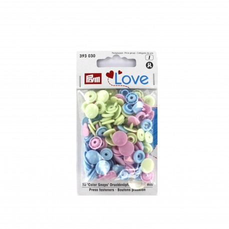 30 snap-buttons Color Snaps love heart - baby mix