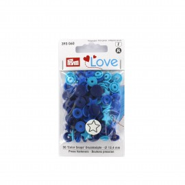 30 boutons pressions Color Snaps Love étoiles - mix bleu