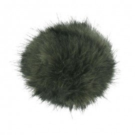 Round-shaped faux fur pompom - olive