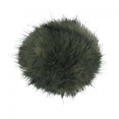 Round-shaped faux fur pompom - olive