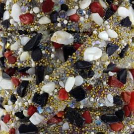 Ruban Pierres Précieuses - doré rouge x 50cm