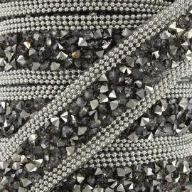 Ribbon Glitter strass - steel x 50cm