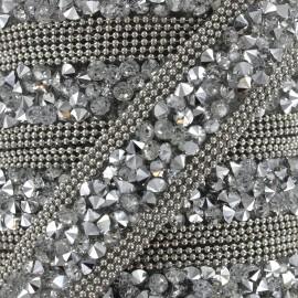 Ruban Glitter strass - argenté x 50cm