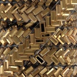 Ruban Chevron strass thermocollant - cuivre x 50cm