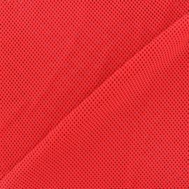 Tissu polyester résille - rouge x 10 cm