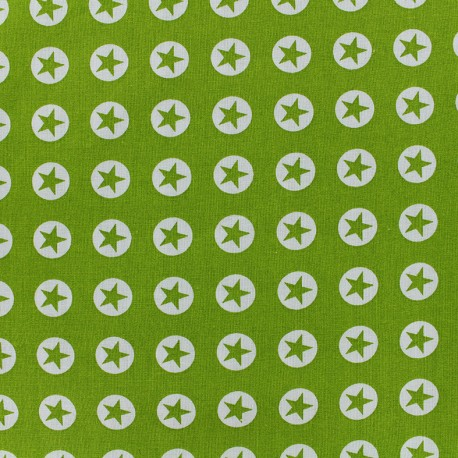 Cotton fabric Super Stars - olive x 10cm