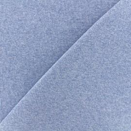 Jersey tubulaire bord-côte chiné 1/2 - bleu x 10cm