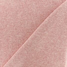Jersey tubulaire bord-côte chiné 1/2 - rose x 10cm