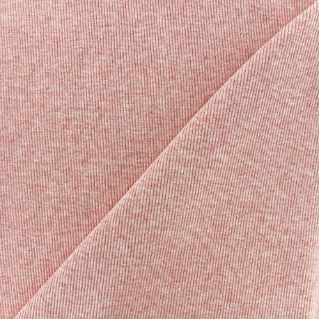 Mocked knitted Jersey 1/2 tubular edging fabric - pink x 10cm