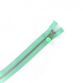 Fermeture éclair métal non séparable Perles et strass - vert d'eau