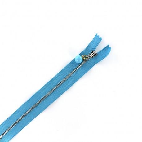 Brass Closed end zipper Perles et strass - azure