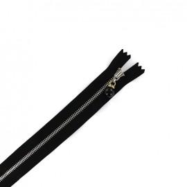 Fermeture éclair métal non séparable Perles et strass - noir