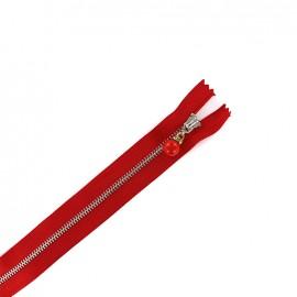 Fermeture éclair métal non séparable Perles et strass - rouge