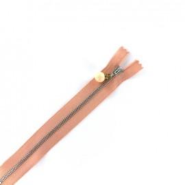 Fermeture à glissière métal non séparable Perle et strass - pêche