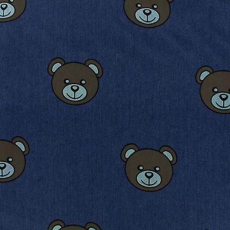 Tissu jeans Teddy Bear - marine x 31cm