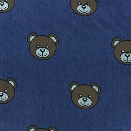 Tissu jeans Teddy Bear - bleu x 31cm