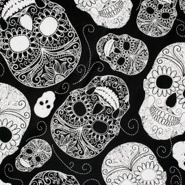 Tissu Jersey Fantasy skull - noir x 20cm