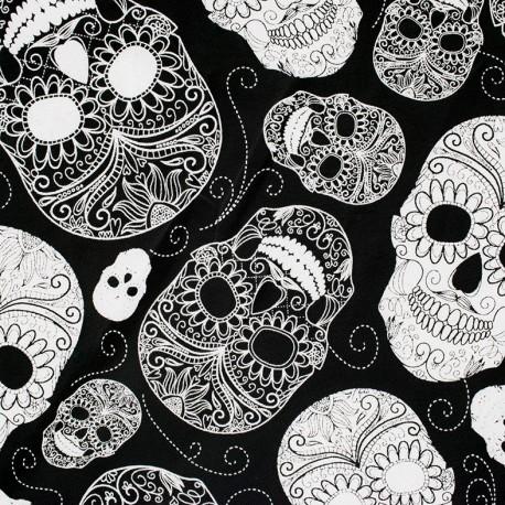Tissu Jersey Fantasy skull - blanc x 20cm