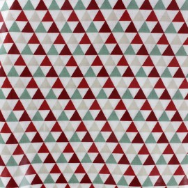 Coated cotton fabric Isocèle - green/red x 10cm