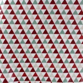 Tissu enduit coton Isocèle - vert/rouge x 10cm