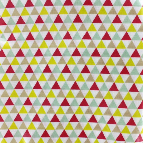 Coated cotton fabric Isocèle - pink/yellow x 10cm