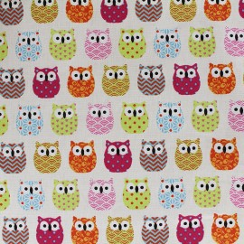 Cretonne cotton Fabric Mini Hiboux - pink x 10cm