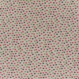 Tissu Poppy Little one Coeurs multi - taupe/vert x 10cm