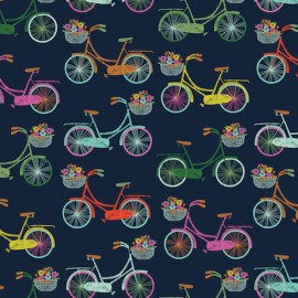 Tissu coton Dashwood Sweet escape Bicycles - navy x 20cm