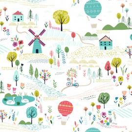 Tissu coton Dashwood Sweet escape Landscape - white x 20cm