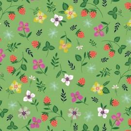 Tissu coton Dashwood Sweet escape Strawberry - vert x 20cm