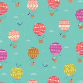 Tissu coton Dashwood Sweet escape Summer Balloons - blue x 20cm