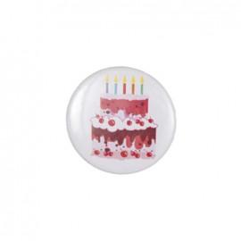 Badge rond motif - gâteau