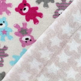 Tissu Doudou double face Ourson - rose x 31cm