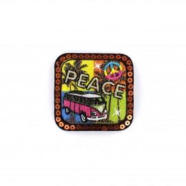 Iron on patch Pop glitter - peace